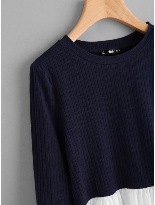Contrast Ruffle Hem Rib Knit T-shirt