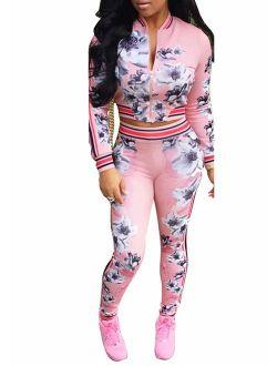 ThusFar Women's Hawaii Floral 2 Piece Set Tracksuit Sports Joggers Jacket Suit