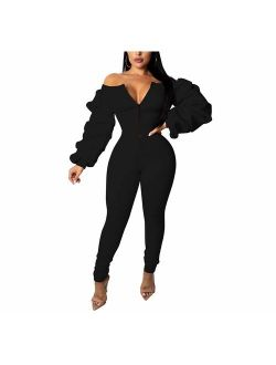 Ophestin Women Off Shoulder Long Sleeve Ruched Bodycon Jumpsuits Rompers