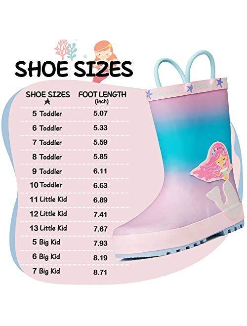 Waterproof Rubber Printed with Handles KomForme Kids Girl Boy Rain Boots