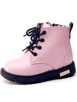 Boy's Girl's Waterproof Side Zipper Lace-up Ankle Boots
