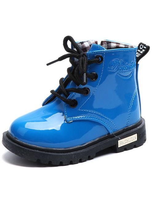 DADAWEN Boy's Girl's Waterproof Side Zipper Lace-Up Ankle Boots (Toddler/Little Kid/Big Kid)