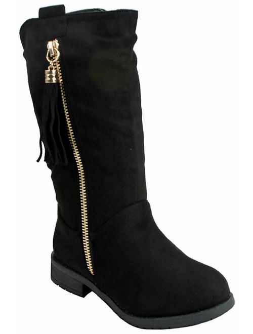 J.J.F Shoes Kids Girls Mango21 Dual Buckle/Zipper Quilted Mid Calf Motorcycle Boots