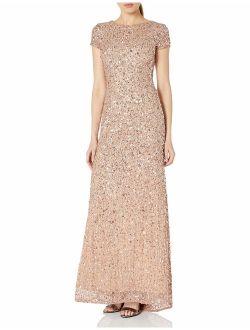 Women's Short-sleeve All Over Sequin Gown