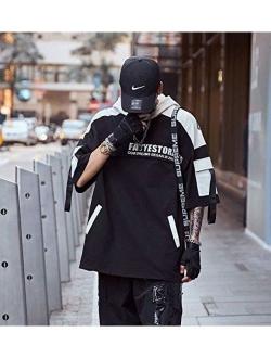 Men's Streetwear Hoodie Mens Short Sleeve Pullover Jersey Techwear Sweatshirt