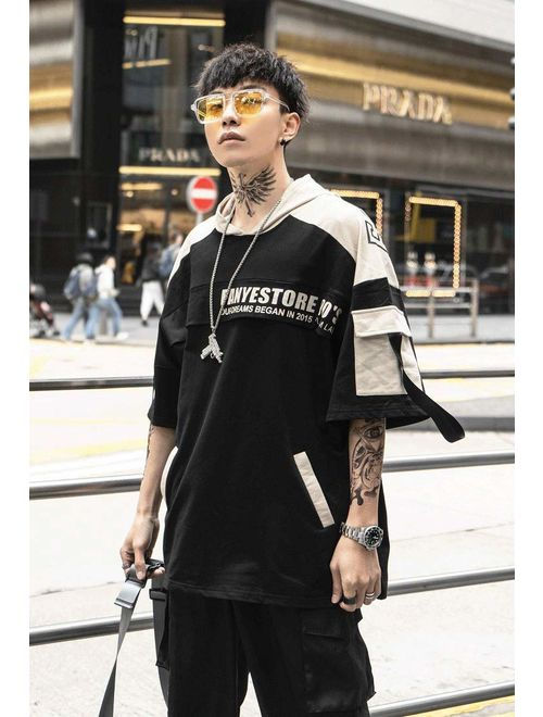 HONIEE Men's Streetwear Hoodie Mens Short Sleeve Pullover Jersey Techwear Sweatshirt