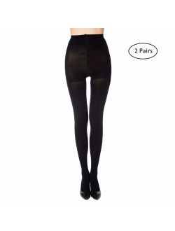 MANZI 2 Pairs Run Resistant Control Top Panty Hose Opaque Tights