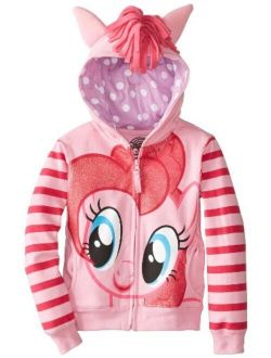 My Little Pony Little Girls 3D Graphic Striped sleeves Zip-up Hoodie