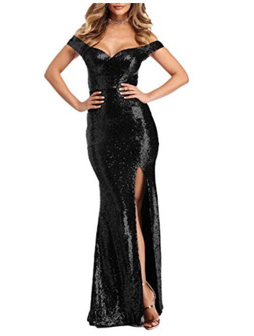 YSMei Women's Off Shoulder Sequins Evening Dress Split Mermaid Prom Gown Ypm464