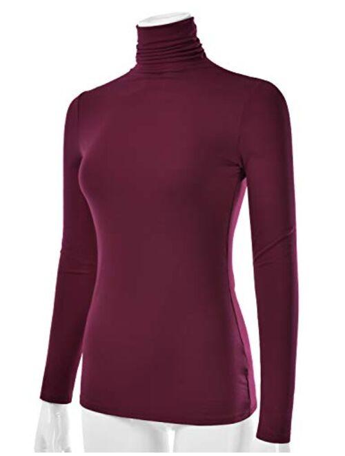 aihihe Turtleneck Sweater for Women Long Sleeve Solid Color Zipper Sweatshirt Lightweight Pullover Slim Shirts Tops Wine