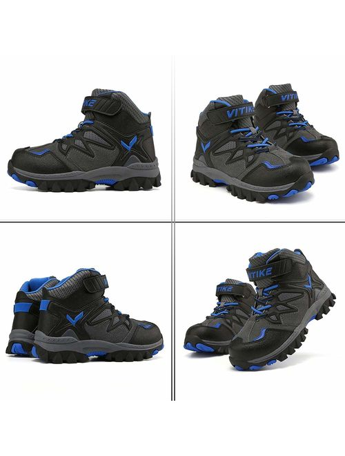 Kids Boots Boys Girls Winter Snow Sneaker Hiking Shoes Outdoor Walking Antiskid Steel Buckle Sole