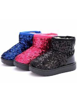 Boy's Girl's Warm Winter Sequin Waterpoof Outdoor Snow Boots