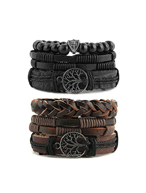 HZMAN Genuine Leather Tree of life Bracelets Men Women, Tiger Eye Natural Stone Lava Rock Beads Ethnic Tribal Elastic Bracelets Wristbands