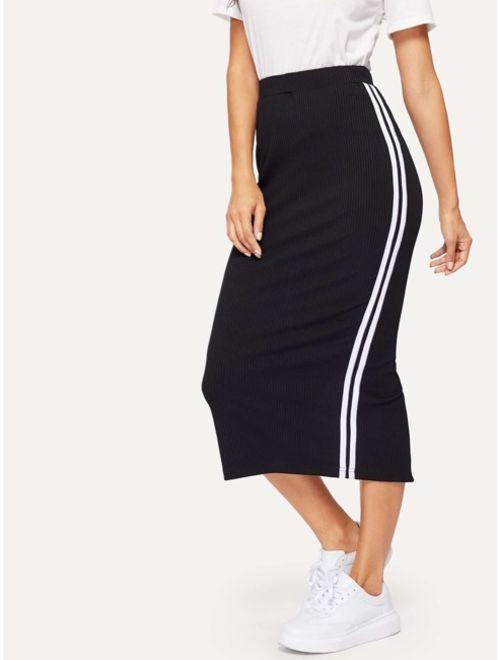 Slit Back Rib-knit Stripe Skirt