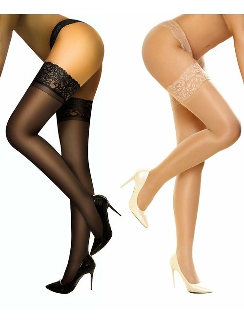 Sheer Thigh highs stockings Silicon Stay Up 2 Pair DancMolly Lace Tights for Women