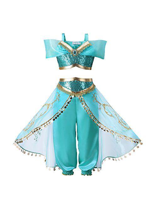 Pettigirl Girls Princess Dress Up Costume Teal & Gold Outfit