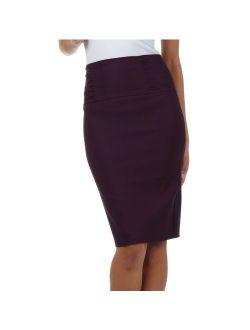 Sakkas Petite High Waist Stretch Pencil Skirt with Shirred Waist Detail