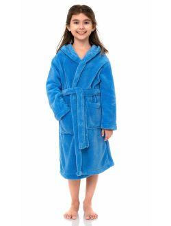 TowelSelections Girls Robe, Kids Plush Hooded Fleece Bathrobe