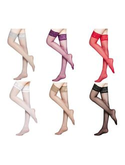 MOOCHI Women's 20 Denier Sheer Soft Thigh High Stockings with Silicone Lace Top for formal casual dresses