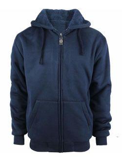 Yasumond Men's Hoodies Full Zip Sherpa Lined Heavyweight Fleece Warm Sweatshirts Big and Tall