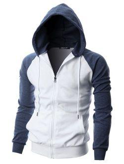 GIVON Mens Slim Fit Long Sleeve Lightweight Raglan Zip-up Hoodie with Kanga Pocket