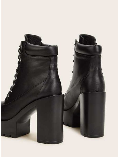 Lace-up Front Lug Sole Black Chunky High Heeled Boots