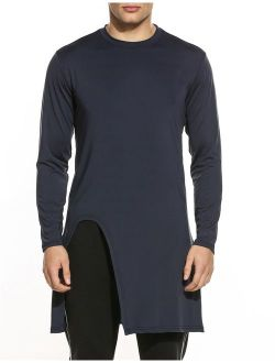 Men's Fashion Long Hem Long Sleeve Slim Fit Pullover T Shirt