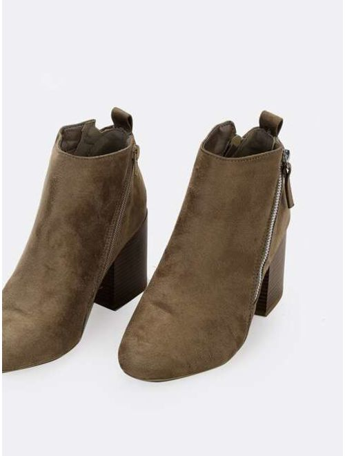 Almond Toe Side Zip Block Heel Ankle Boots
