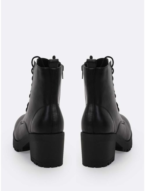 Lace Up Platform Lug Sole Block Heel Combat Boots