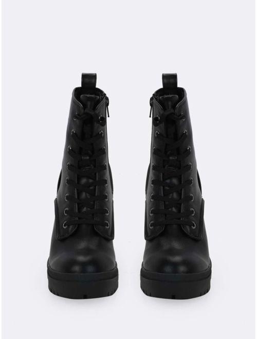 Lace Front Platform Lug Sole Combat Boots