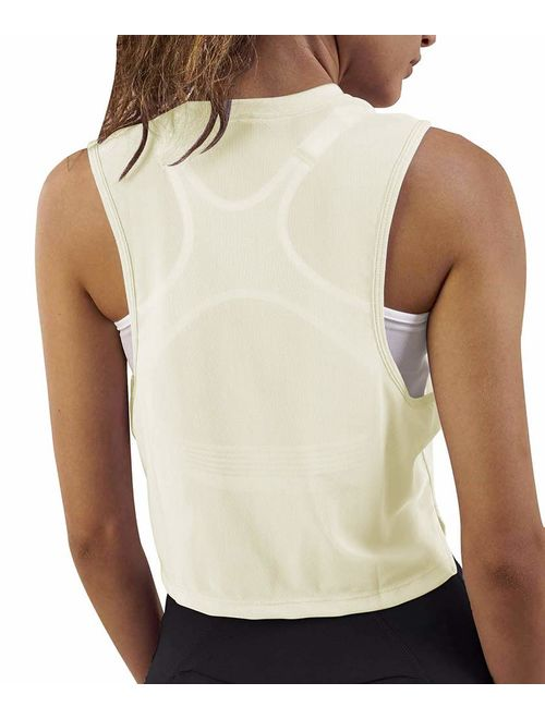 Mippo Womens Loose Flowy Mesh Workout Athletic Gym Crop Top Cropped Tee Muscle Tank
