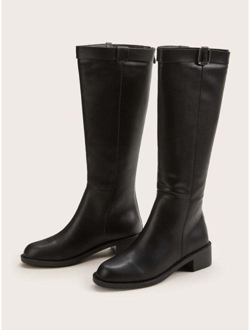 Buckle Decor Back Zip Boots
