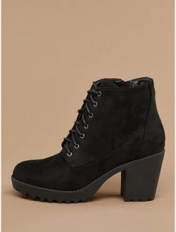 Lace Front Almond Toe Lug Sole Boots