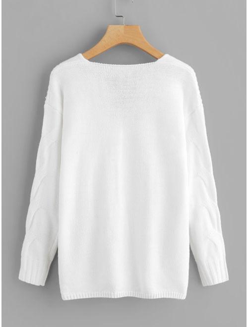 Drop Shoulder Cable Knit Sweater