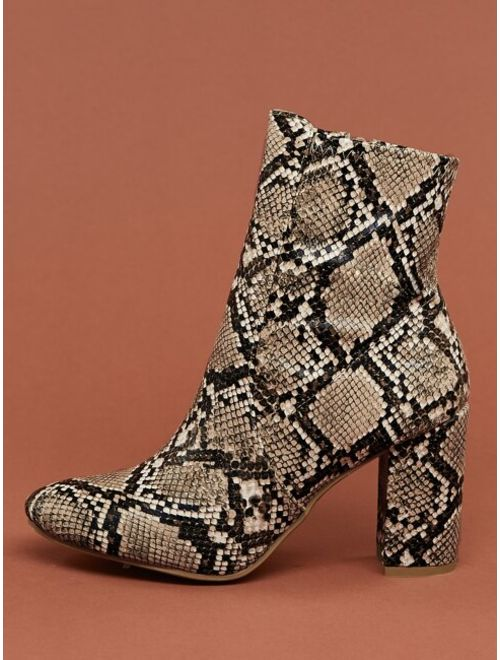 Almond Toe Block Heel Snakeskin Booties