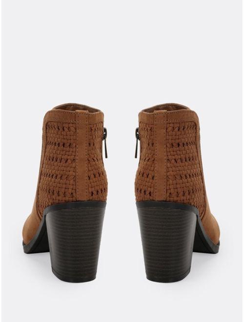 Almond Toe Criss Cross Detail Block Heel Booties