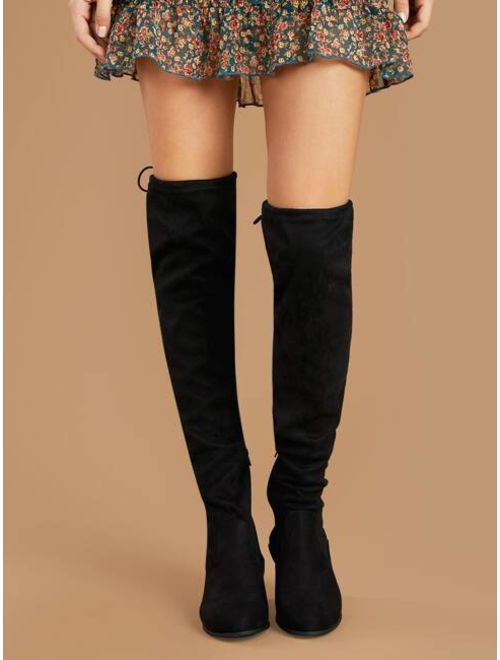 Thigh High Low Heel Back Tie Boots