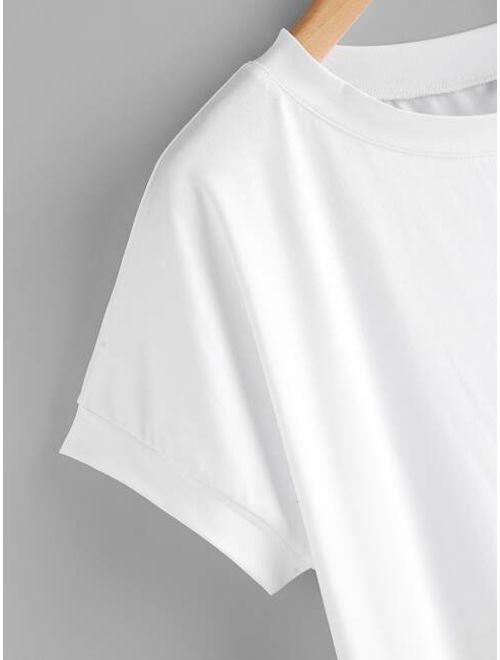 High Low Curved Hem Tshirt