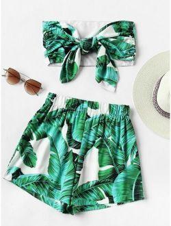 Leaf Print Random Bow Tie Crop Bandeau Top With Shorts