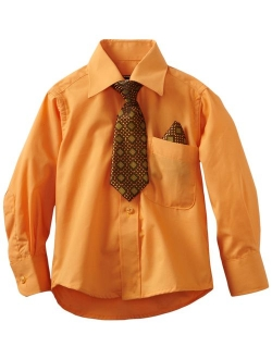 Dark Orange American Exchange Big Boys Dress Shirt with Tie and Pocket Square 12 American Exchange Boys 8-20