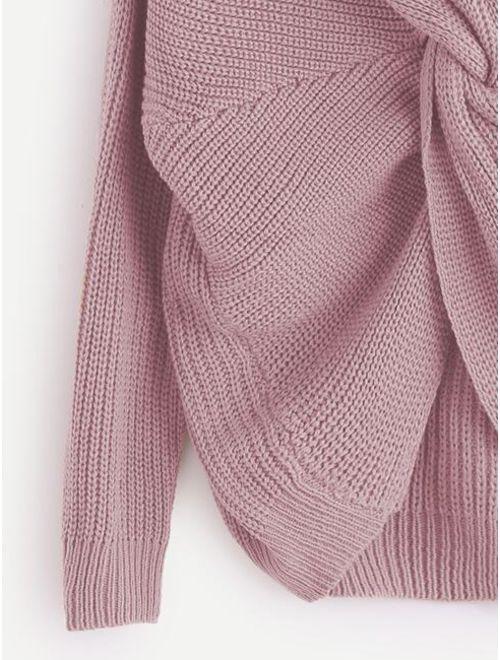 V Neckline Twist Front Sweater