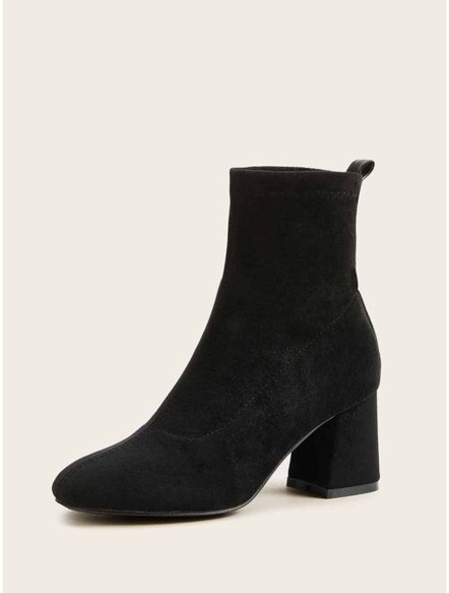 Black Suede Chunky High Heeled Ankle Boots