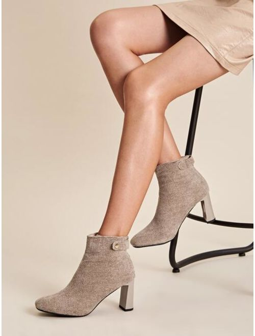 Zip Back Chunky Heeled Ankle Boots