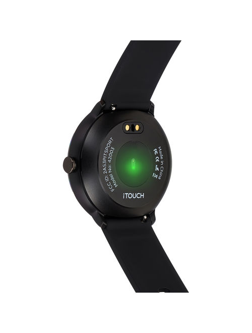 iTouch Sport Silicone Strap Smartwatch with Pedometer - Black/Black