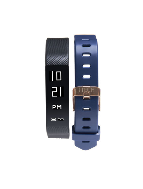 iTech Sport Activity Tracker with Interchangeable Strap, Black/Navy