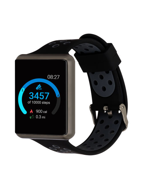 iTouch Air Special Edition Perforated Silicone Strap Smartwatch with Pedometer - Black/Dark Grey