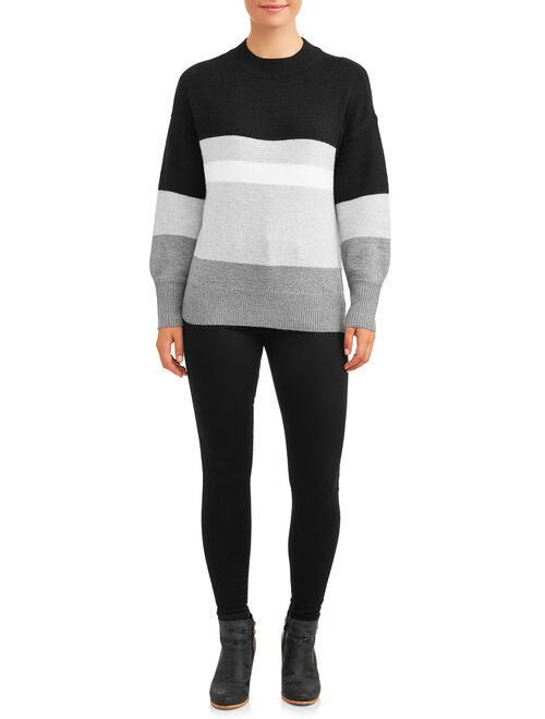 Time and Tru Women's Mock Neck Tunic Sweater