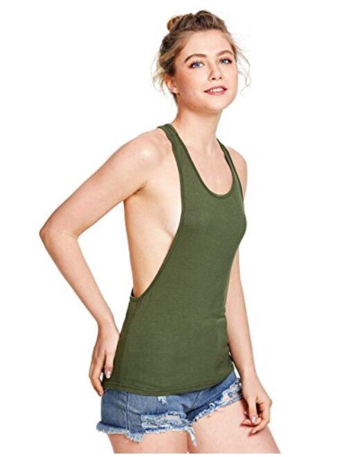 SweatyRocks Women's Sleeveless Flowy Loose Fit Racerback Yoga Workout Tank Top
