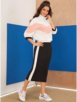 Zip Half Placket Colorblock Chevron Top & Skirt Set