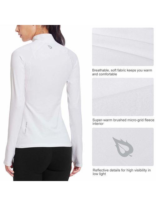 BALEAF Women's Thermal Fleece Half Zip Thumbholes Long Sleeve Running Pullover